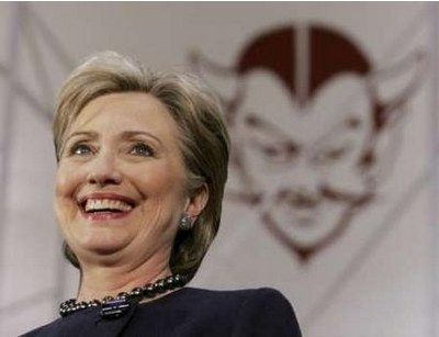 Hillary Clinton Satan on Left Shoulder